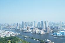View of Hamarikyu Garden and Tokyo Bay